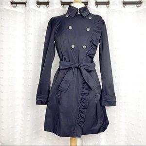 Anthro Elevenses navy blue ruffle trench coat 2